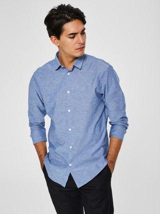 Camasa albastra melanj slim fit cu amestec de lana Selected Homme Linen
