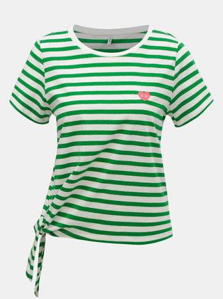 Bielo–zelené pruhované tričko s uzlom ONLY Brave