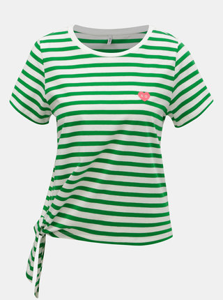 Tricou alb-verde in dungi cu nod ONLY Brave