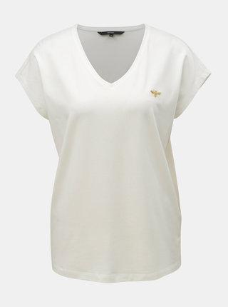 Krémové basic tričko s výšivkou VERO MODA Clia