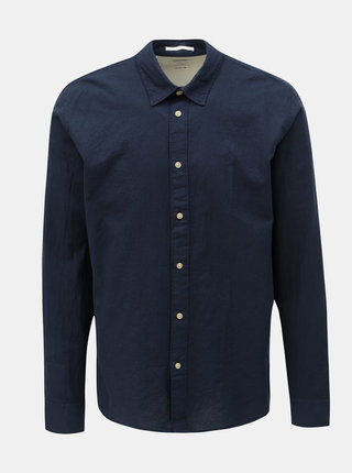 Camasa albastru inchis regular fit cu amestec de in Selected Homme Michael