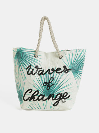 Geanta de plaja crem din hartia cu model tropical Roxy Waves of Change