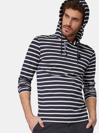 Tmavomodré pánske pruhované tričko s kapucňou Tom Tailor