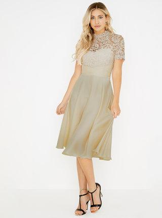 Béžové šaty s krajkovým topem Little Mistress