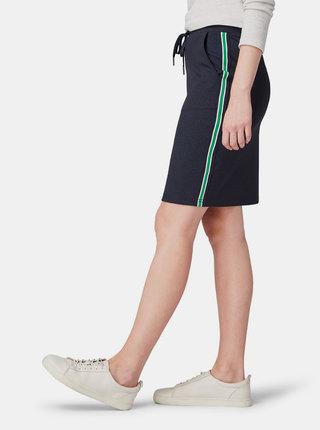 Tmavomodrá sukňa s pruhmi na bokoch Tom Tailor