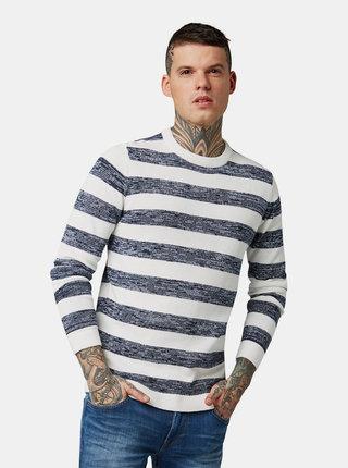 Modro-bílý pánský pruhovaný basic svetr Tom Tailor Denim