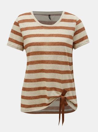 Hnedo–béžové pruhované tričko s mašľou ONLY Rill