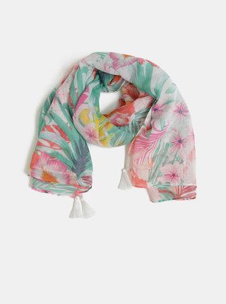 Růžovo-krémový květovaný šátek Pieces Sibanna