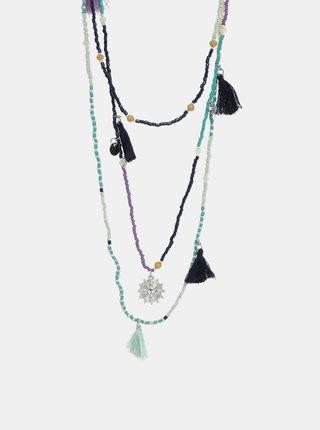 Modro–mentolový náhrdelník Pieces Benina