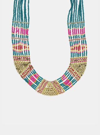 Náhrdelník v zlatej a tyrkysovej farbe Pieces Bibbi