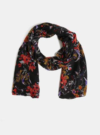 Černý květovaný šátek Pieces Bine
