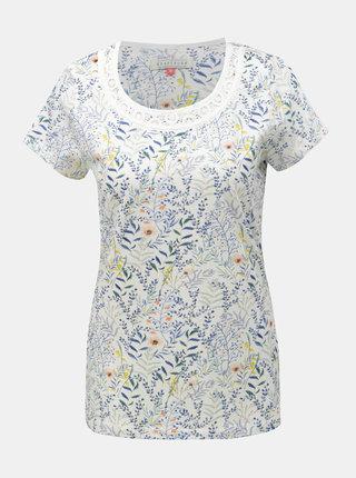 Biele kvetované tričko Brakeburn Botanical