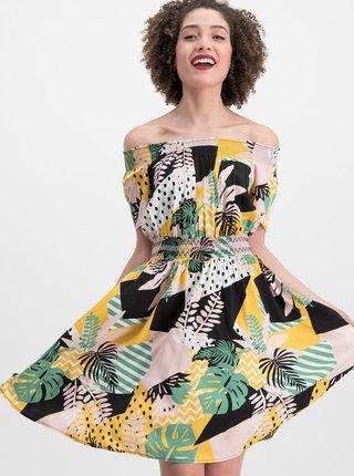 Růžovo-žluté vzorované šaty s odhalenými rameny Blutsgeschwister Metropolitan Magic