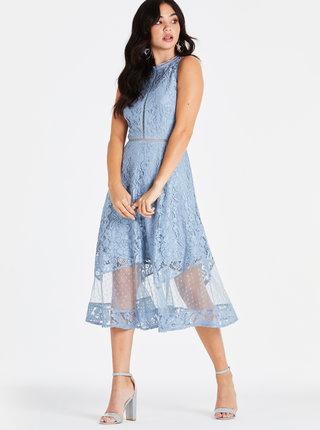 Modré krajkové midišaty Little Mistress