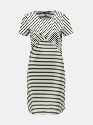 Čierno–biele pruhované puzdrové šaty VERO MODA Vigga