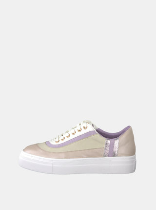 Pantofi sport roz prafuit din piele cu platforma Tamaris Frangipani