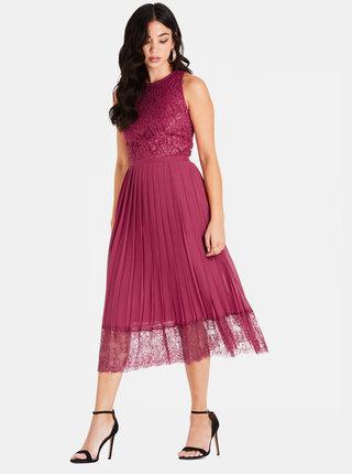 Vínové šaty s krajkou Little Mistress