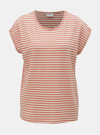 Tricou basic alb-oranj in dungi AWARE by VERO MODA Ava
