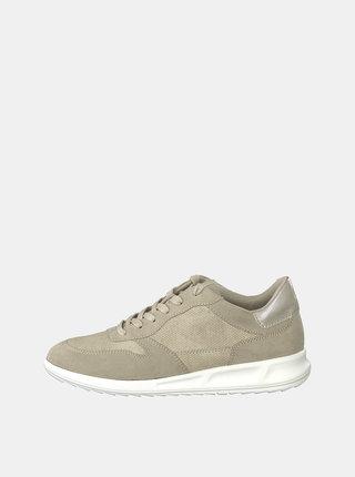 Pantofi sport bej cu aspect de piele intoarsa si model discret Tamaris