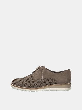 Pantofi bej din piele intoarsa cu perforatii Tamaris Kela