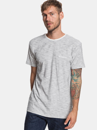 Tricou gri deschis in dungi modern fit Quiksilver