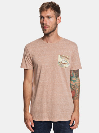 Světle hnědé žíhané modern fit tričko s kapsou Quiksilver