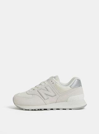 Pantofi sport crem de dama din piele intoarsa New Balance 574