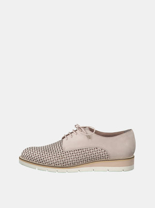 Pantofi sport roz deschis din piele intoarsa cu perforatii Tamaris Kela