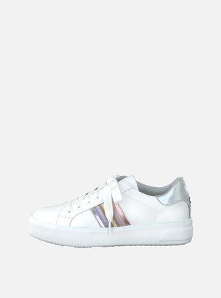 Biele tenisky na platforme s ozdobnými detailmi Tamaris Milania