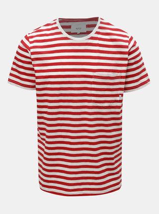 Červeno–biele pánske pruhované basic tričko s vreckom Makia Verkstad