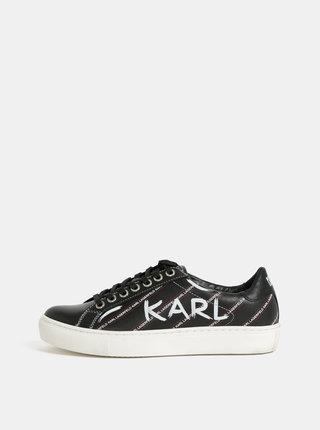 Čierne kožené tenisky KARL LAGERFELD Kupsole