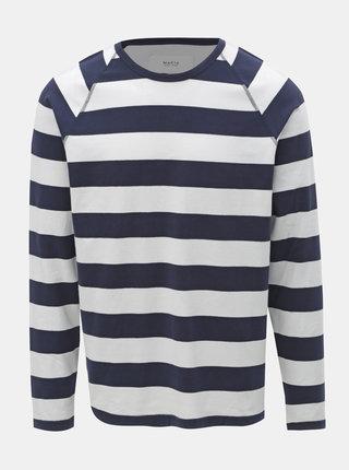 Bielo–modré pánske pruhované tričko Makia Keel