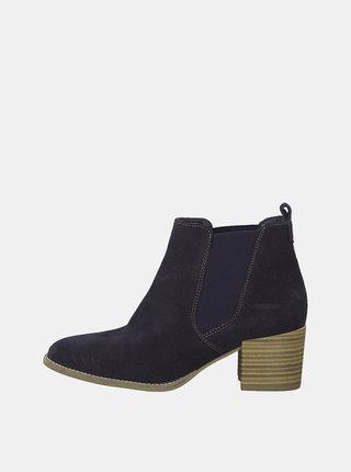 Tmavomodré semišové členkové topánky Tamaris Paula