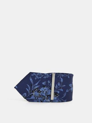 Cravata slim albastru inchis florala cu catarama Burton Menswear London