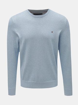 Světle modrý pánský basic svetr s příměsí hedvábí Tommy Hilfiger