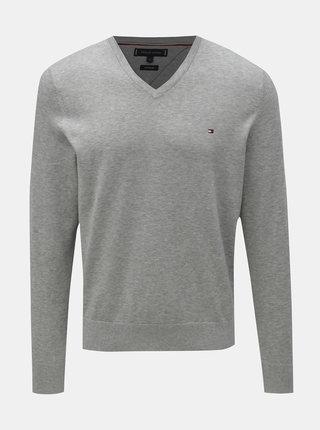 Sivý pánsky melírovaný sveter s prímesou hodvábu Tommy Hilfiger