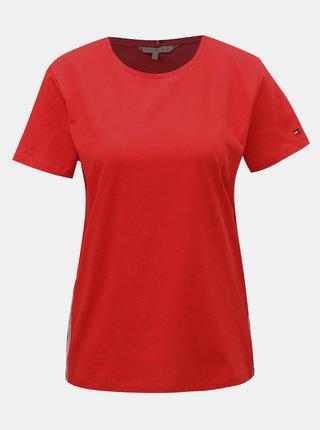 Červené dámske tričko s pruhmi na bokoch Tommy Hilfiger Thea