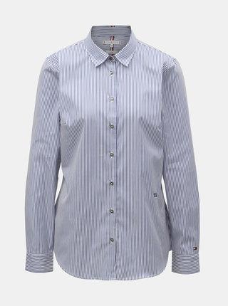 Bielo–modrá dámska pruhovaná fitted košeľa Tommy Hilfiger Essential