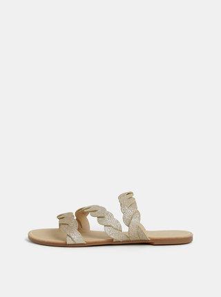 Třpytivé pantofle ve zlaté barvě Dorothy Perkins