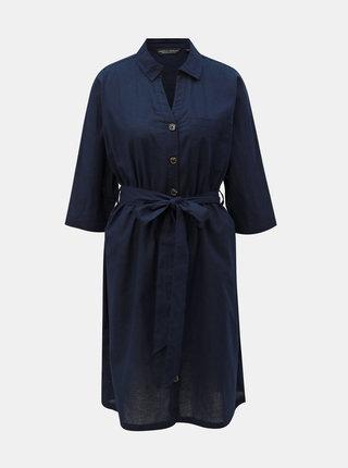 Tmavě modré košilové šaty s příměsí lnu Dorothy Perkins Curve