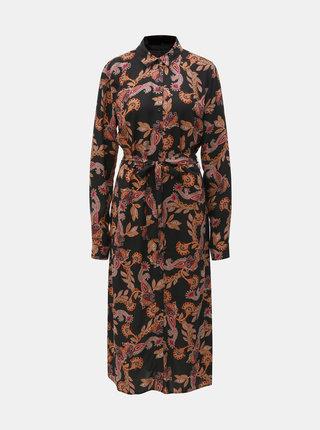Rochie tip camasa maxi neagra cu model Dorothy Perkins Tall