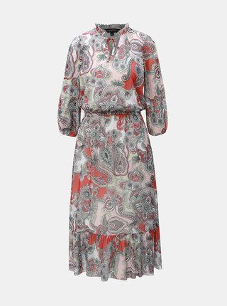Červeno–sivé vzorované maxišaty Dorothy Perkins