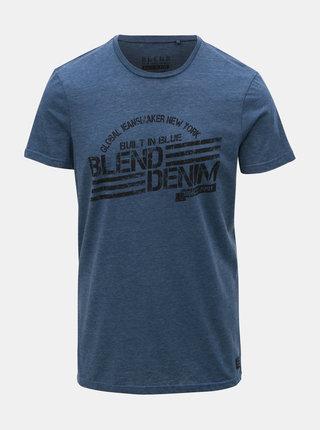 Modré žíhané tričko s potiskem Blend