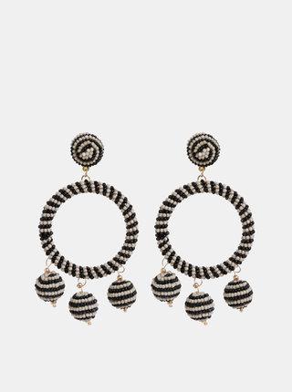 Béžovo-černé korálkové náušnice Pieces Caroline