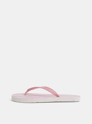 Bielo–ružové pruhované žabky Pieces Blair