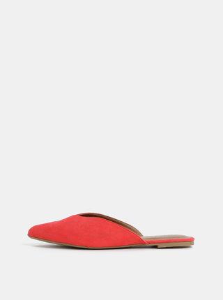 Červené pantofle v semišové úpravě Pieces Cameo