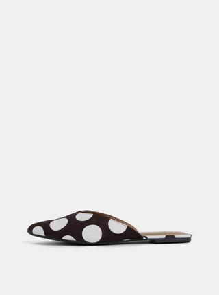 Papuci alb-negru cu aspect de piele intoarsa si buline Pieces Cameo