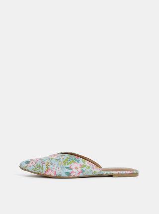 Papuci albastru deschis florali Pieces Cameo