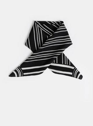 Bílo-černý pruhovaný šátek Pieces Carol