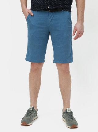 Pantaloni scurti albastri slim fit cu model si curea Lindbergh